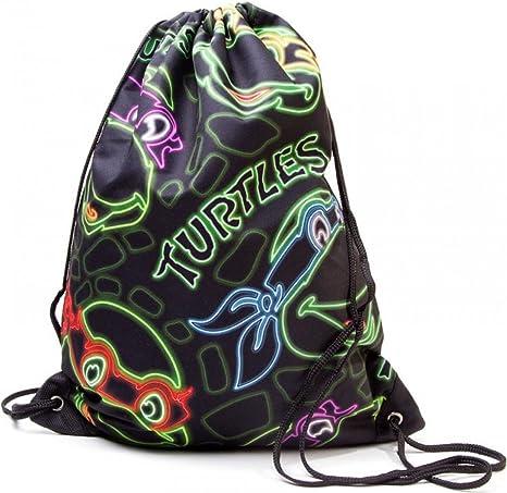 Teenage Mutant Ninja Turtles TMNT BIO-86157TMT - Bolsa con cierre de cordel, diseño retro con efecto neón