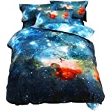 uxcell Galaxy Sky Cosmos Night Pattern Queen Size Bedding Quilt Duvet Set Multicolor