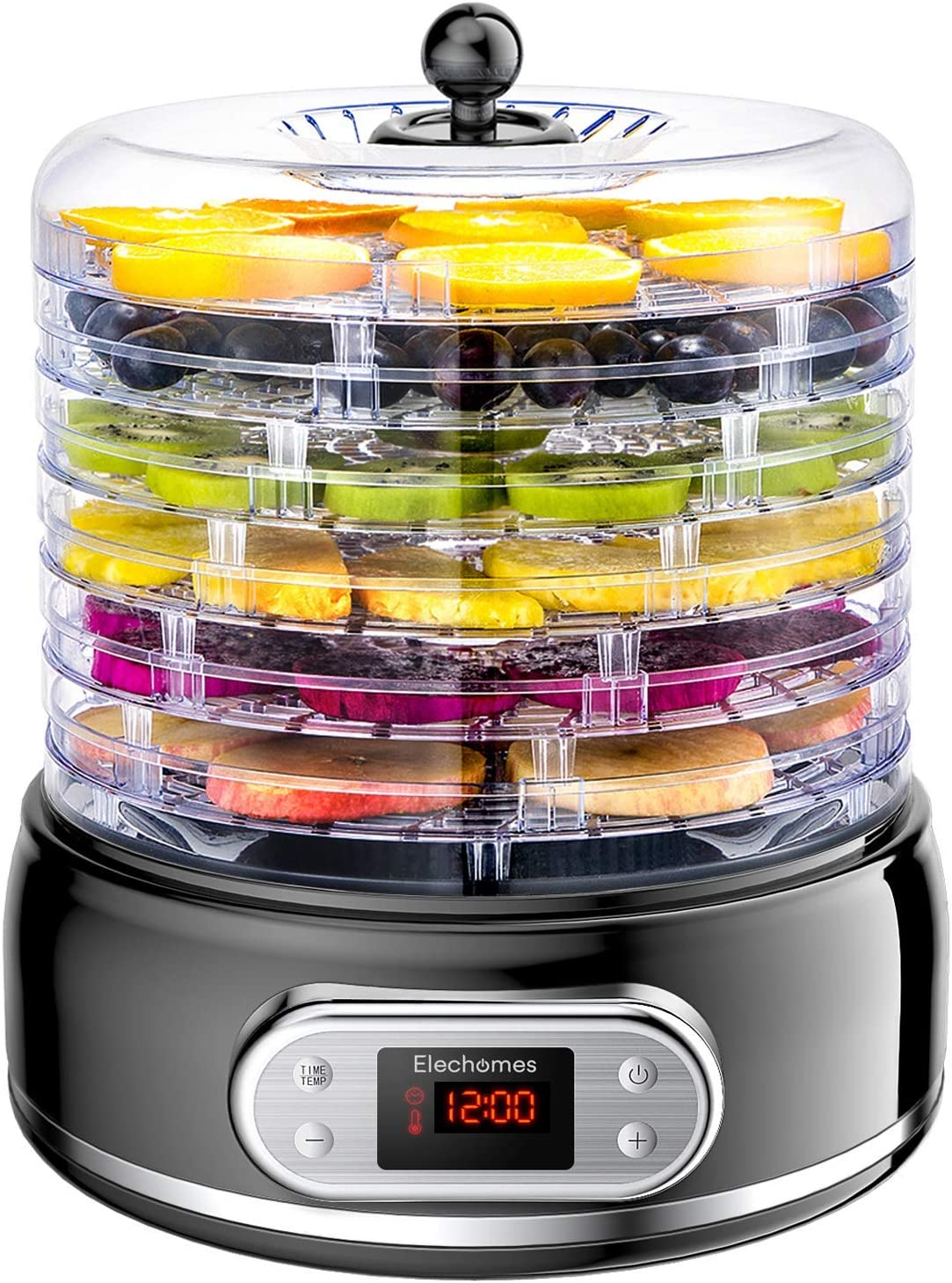 Elechomes Food Dehydrator with Fruit Roll Sheets, 6 Trays Fruit Vegetable Nuts Dryer, Digital Thermostat Time and Temperature Preset Food Preserver, Beef Jerky Maker, BPA-Free (Renewed)