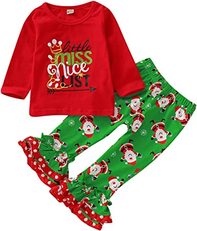 US Toddler Kids Baby Girl Christmas Tops Flared Pants Leggings Outfits Clothes