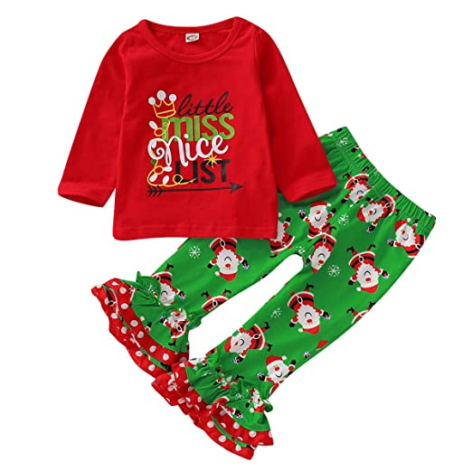 f3c0b3734641 Toddler Baby Girls Christmas Clothes Long Sleeve Shirt & Ruffle Pants  Outfits Set (Red+