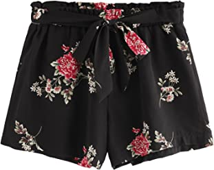 1c87ba7eb4 Romwe Women's Floral Print Random Pom Pom Trim Elastic Mid Waist Wide Leg  Beach Shorts