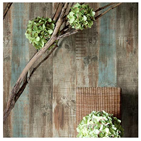 8106 Distressed Holz Panel Tapete Rollen, rustikales blau ...