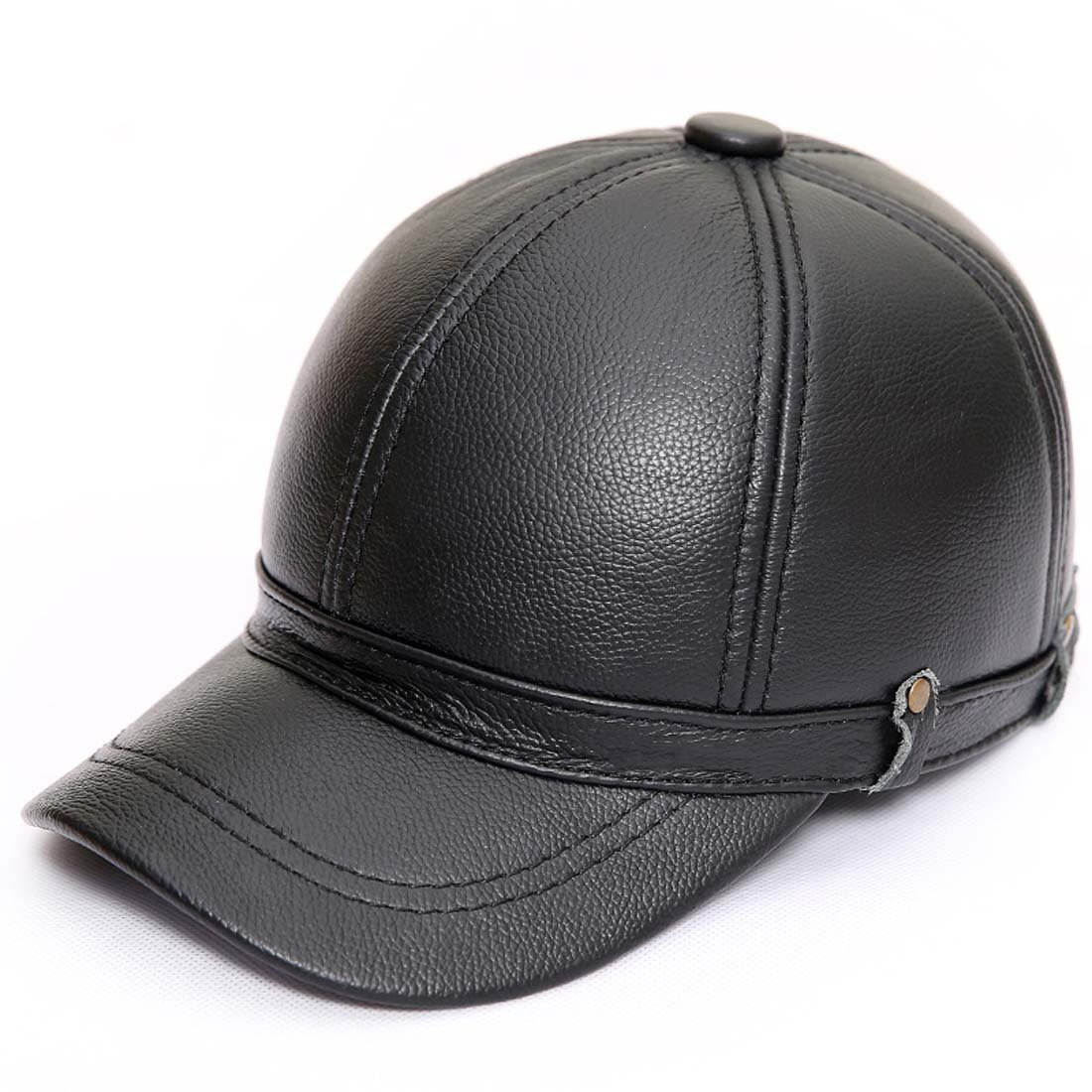 16a1cdb1d86 acdiac Men s Genuine Cowhide Leather Adjustable Baseball Caps Ball Cap  (black) at Amazon Men s Clothing store