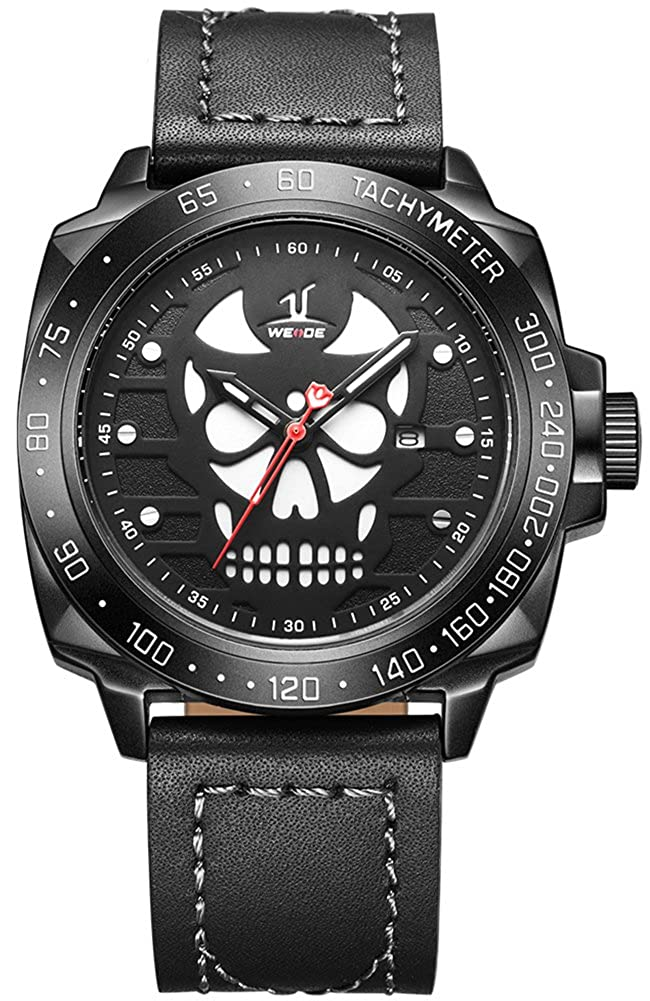 VOEONS Men's Black Genuine Leather Classic Skull Watch Waterproof Analog Quartz Wrist Watches for Men with Calendar Skull Face