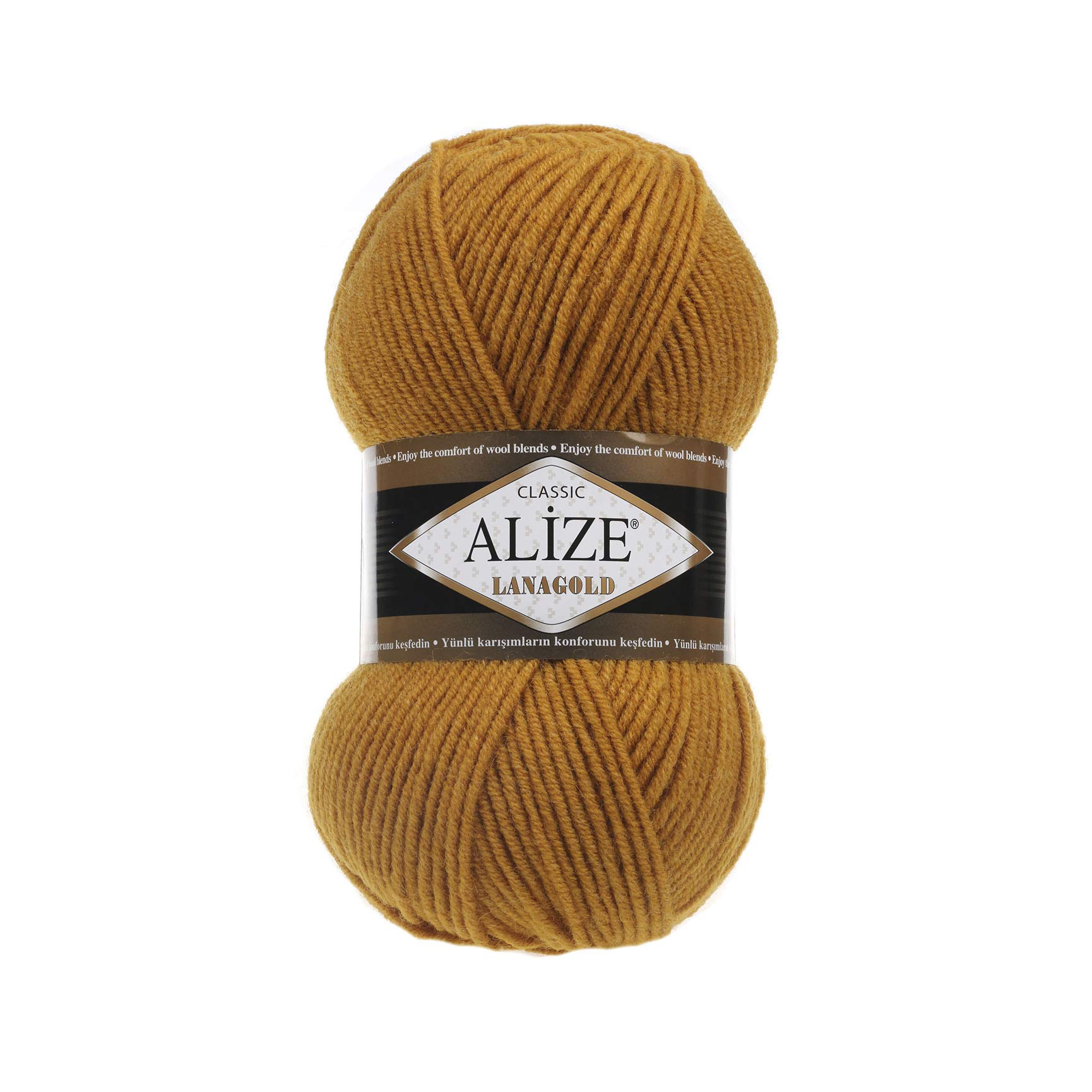Hand Knitting Yarn Alize LanaGold Yarn for Crochet Knitting & Crafting Wool Blend Warm Soft Natural Chunky Hand Woven Knitting Crochet Knitwear Wool Lot of 4 skn 400gr 1048yds Color 645 Mustard