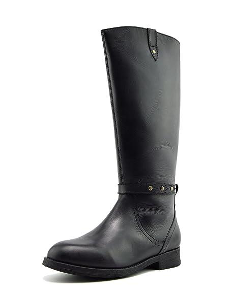 Kick Footwear Donne Ginocchio Alto Stivali da Equitazione Elastica Ampia  Vitello Stivali Flat - UK9/