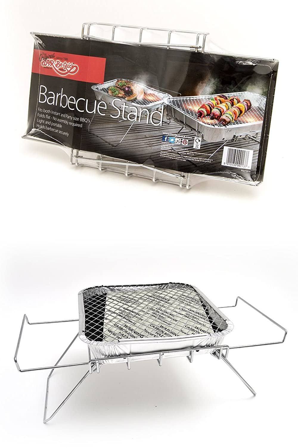 Bar-Be-Quick Instant Barbecue Stand- Foldable Instant BBQ stand. Fits both size of disposable barbecue, No assembly. Light & portable.