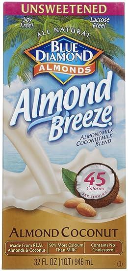 Blue Diamond Growers - leche de almendras sin azúcar coco almendra - 32 oz la brisa