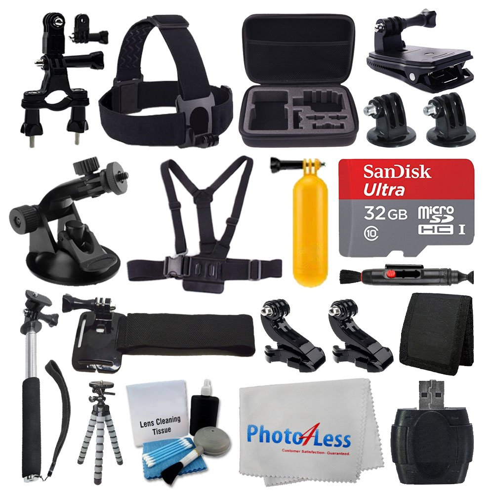 Deluxe Accessory Bundle for GoPro + Medium Carrying Case + Floating Handle + 32GB Micro SD Memory Card + Monopod + Card Reader + Head Strap + Chest Strap + Wrist Strap + Flexible Tripod +