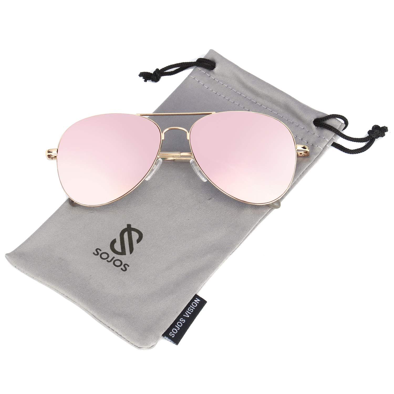 de4bb578b0 Amazon.com  SOJOS Classic Aviator Mirrored Flat Lens Sunglasses Metal Frame  with Spring Hinges SJ1030 with Gold Frame Pink Mirrored Lens  Clothing
