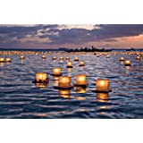 Toner Depot Water Floating Candle Lanterns Outdoor Biodegradable Lanterns for Praying Set of 10 (4.3 inch)