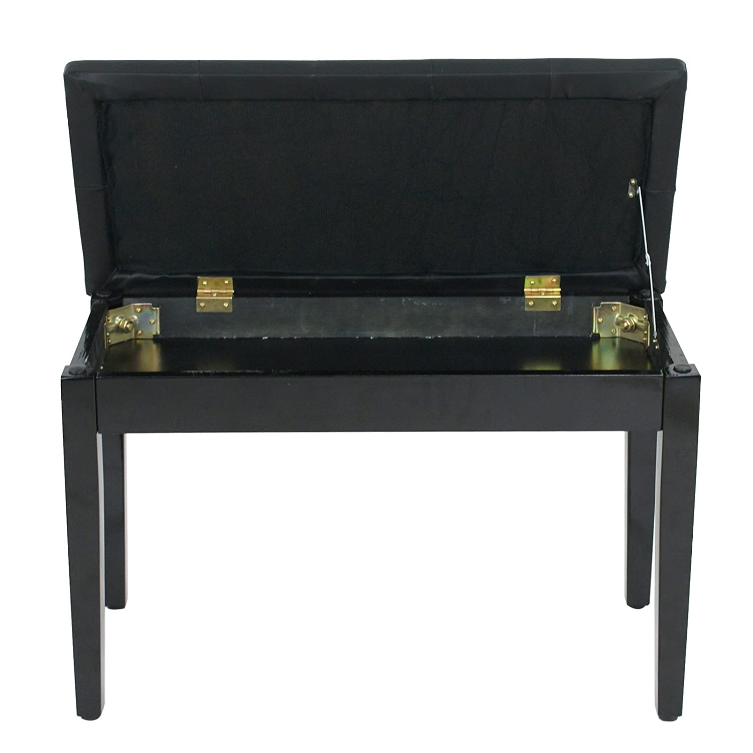 Yaheetech Wooden Duet Piano Bench Stool with Padded Cushion and Book Storage Black