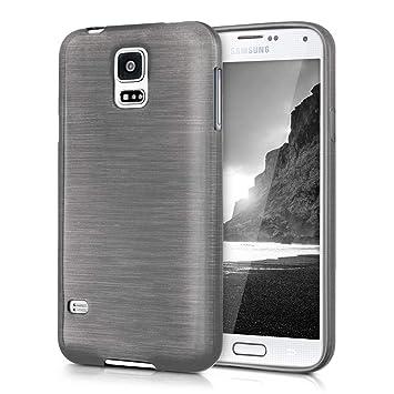 kwmobile Funda para Samsung Galaxy S5 / S5 Neo - Carcasa de TPU para móvil y diseño de Aluminio Cepillado en Antracita/Transparente