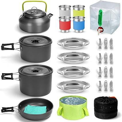 Odoland Kit de Utensilios de Cocina para Camping 29 pzas, Ollas y Sartenes Antiadherente de Camping con Contenedor de Agua y Cubo Plegable, Hervidor, ...