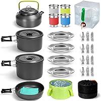 Odoland Kit de Utensilios de Cocina para Camping 29 pzas, Ollas y Sartenes Antiadherente de Camping con Contenedor de…