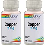 SolaRay Copper 2 Milligrams Amino Acid Chelate Dietary Supplement (100 VegCaps) Pack of 2