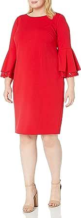 Calvin Klein Women's Plus Size Lace Trim Bell-Sleeve Sheath Dress