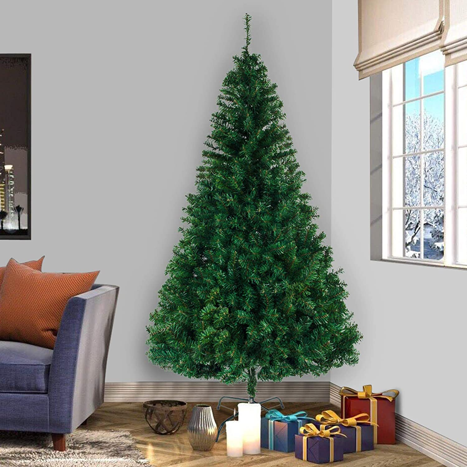 NMFIN Artificial Christmas Tree, 8 ft Premium PVC Hinged Spruce Xmas Tree, Foldable Metal Stand, Perfect Decor for Indoor & Outdoor, Green