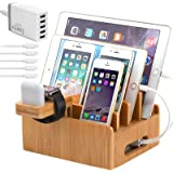Bamboo Charging Station for Multiple Devices with 5 Port USB Charger, 5 Charger Cables and AirPod & Watch Stand. Pezin…