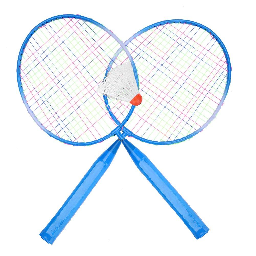 2選手バドミントンラケットボールPortable Colored Plaid耐久性ナイロン合金バドミントンラケットラケット3ボール子供のトレーニング B07FL7T2TJ ブルー