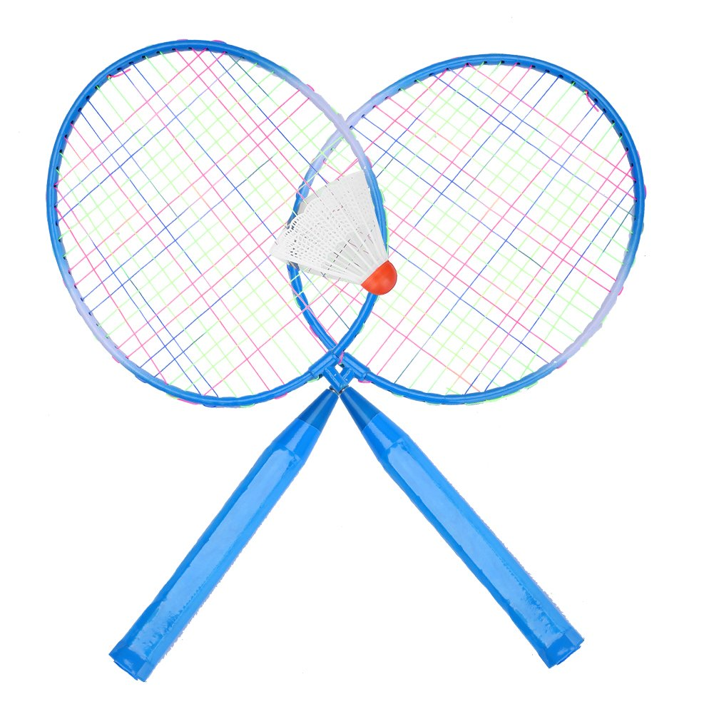 2 Players Badminton Racket Ball, Portable Colored Plaid Durable Nylon Alloy Badminton Racquet 3 Balls for Children Training (Blue)
