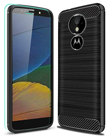 buy popular 7bf4d e6943 Moto E5 Plus Case, Moto E5 Supra Case with HD Screen Protector Ucc Frosted  Shield Luxury Slim TPU Bumper Cover Carbon Fiber Design and Anti-Scratch ...
