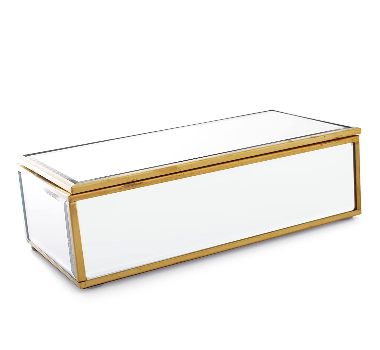 Metal de color Dorado Envejecido marco espejo joyero joyas caja de ...