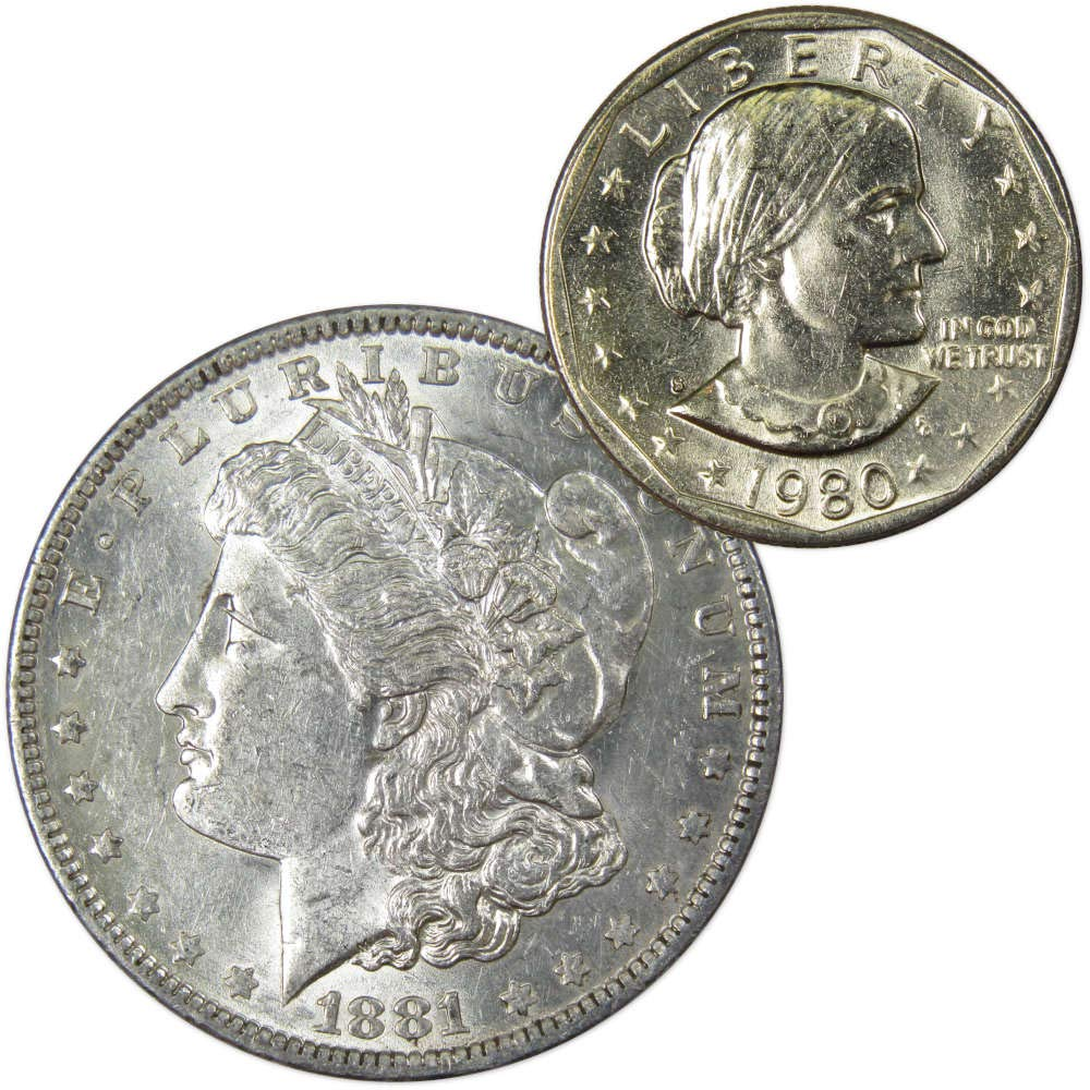 All 1980-P From Hoard Lot of 5 Susan B Anthony Silver Dollars SBA $1 Coins!
