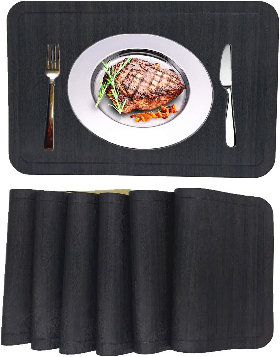 WANGCHAO Place mats Set of 6 Faux Leather Glossy Dining Table mats Waterproof Wearproof WIPEABLE Washable Heat Resistant Thermoforming Place Mats (Rectangular Placemats, Black1)