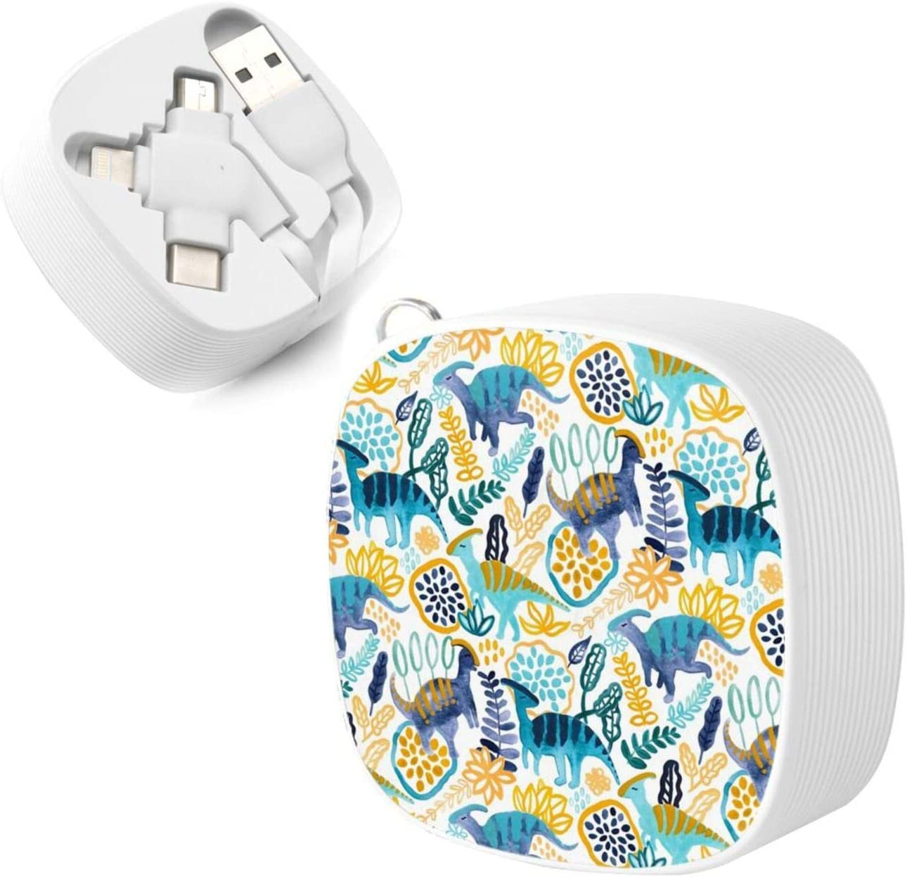 Multi Charging Cable Portable 3 in 1 Gouache Parasaurolophuses Throw Pillow USB Power Cords for Cell Phone Tablets and More Devices Charging