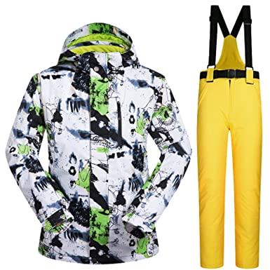 f8f4f7bad8 Image Unavailable. Image not available for. Color  Ski Suit Men Winter  Windproof Waterproof Thermal Snow Jacket and Pants Sets Skiwear Skiing and  Snowboard
