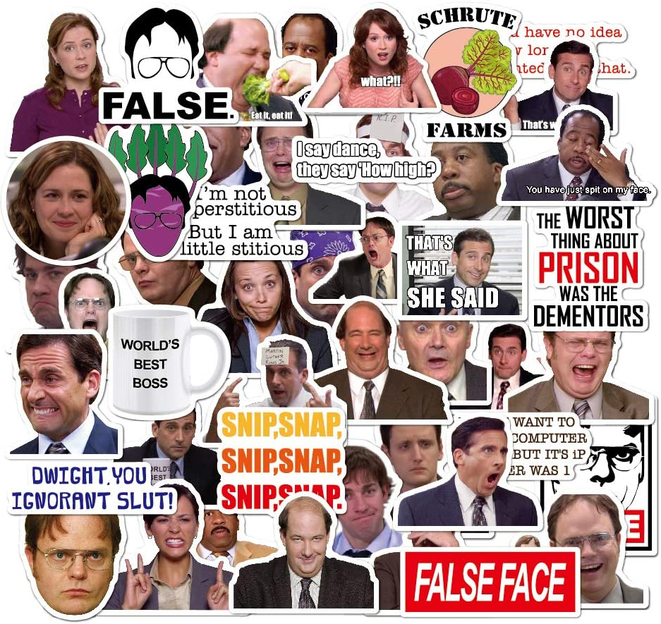 The Office Sticker Pack of 50 Stickers-Funny Quote Waterproof Vinyl Stickers for Laptop Hydro Flasks Water Bottles Phone Notebook Computers Guitar Bike Helmet Car-Interesting Gift (The Office-A)