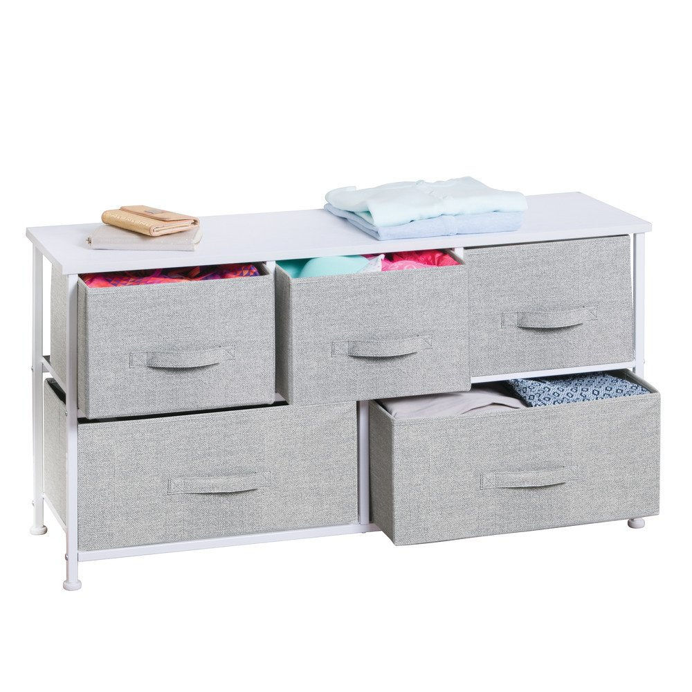InterDesign Aldo Fabric 5-Drawer Dresser and Storage Organizer Unit for Bedroom, Apartment, Small Living Spaces – Gray by InterDesign (Image #3)