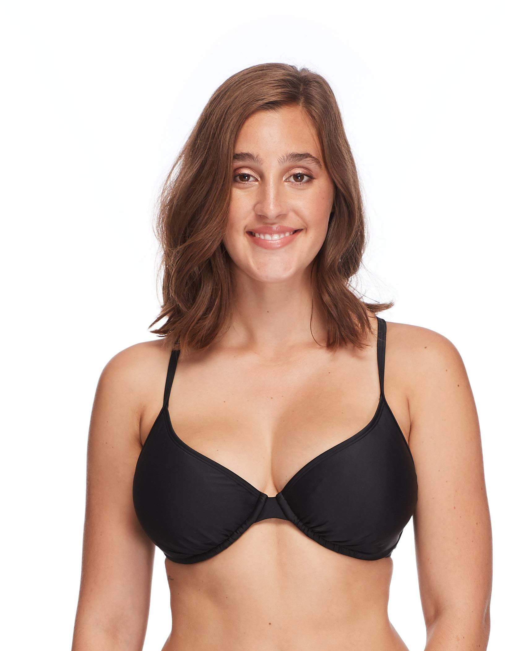 Body Glove Women's Smoothies Solo Solid Underwire D, DD, E, F Cup Bikini Top Swimsuit, Black by Body Glove