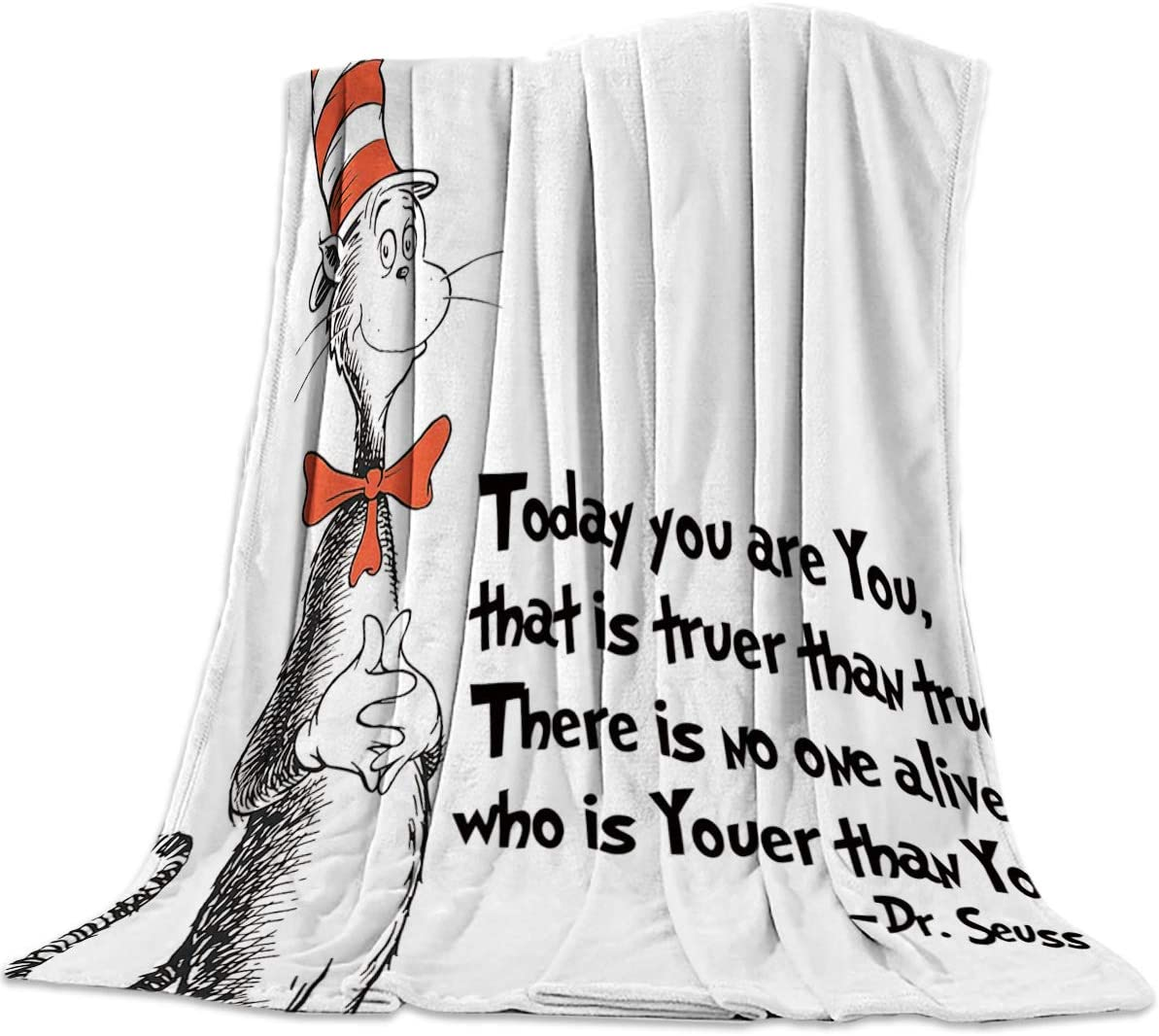"T&H Home Artistic Blanket, Freehand The Cat in The Hat Dr. Seuss Soft Flannel Fleece Bedding Blanket for Couch, Throw Blanket for Cover Men Women Aults Kids Girls Boys 50""x80"""