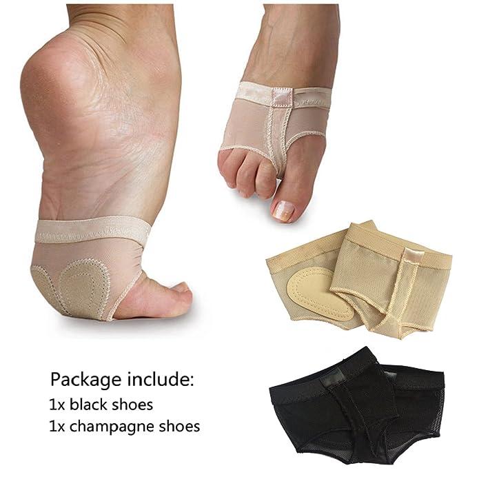 Wuchieal Women's 2 Pairs Dance Paws Pad Foot Thongs Toe Undies Half Lyrical Shoes Socks by Wuchieal
