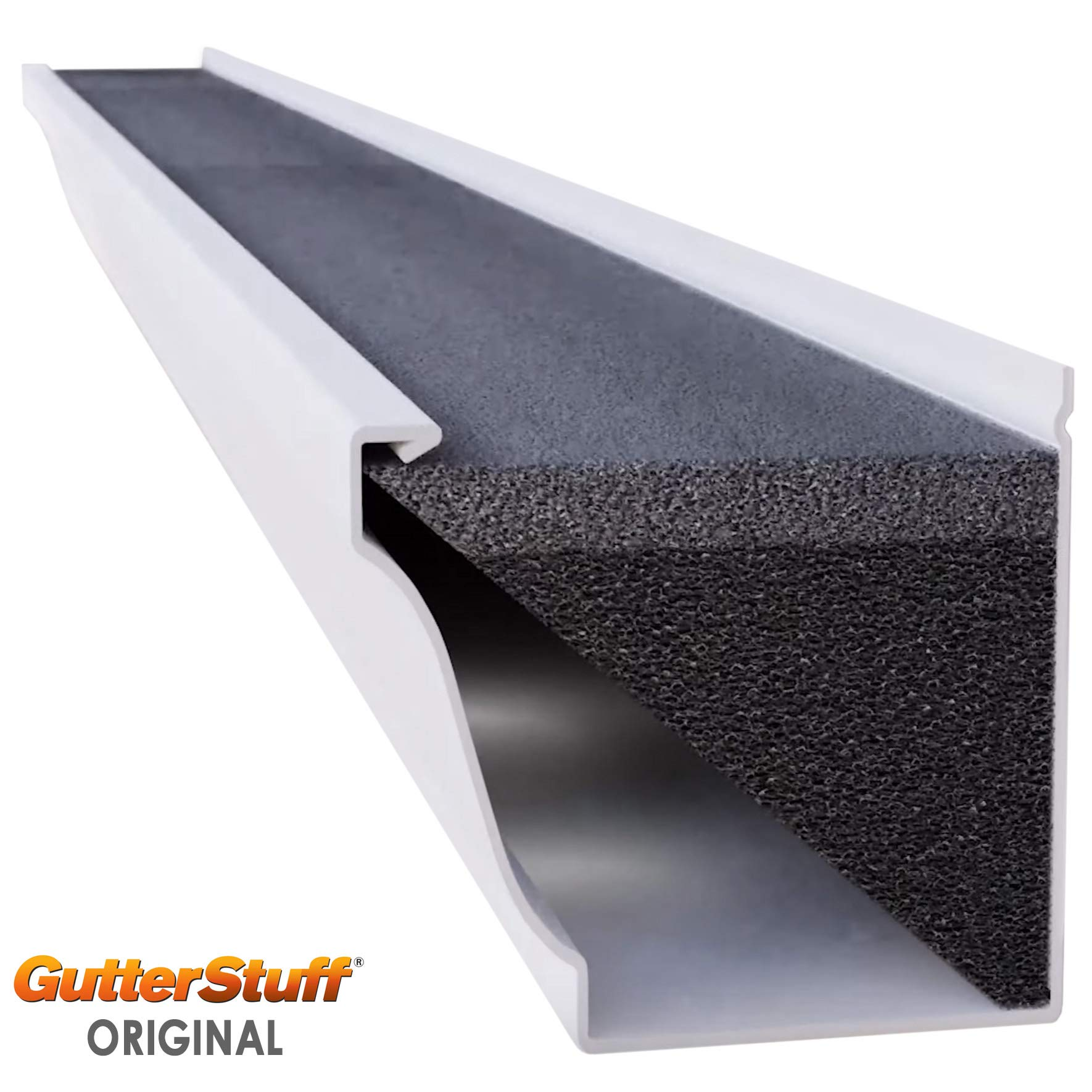 GutterStuff Guard 5-Inch K Style Foam Gutter Filter Insert with Year Round Leaf Protection & Easy DIY Installation, 8 x 4' (32-feet) by GutterStuff