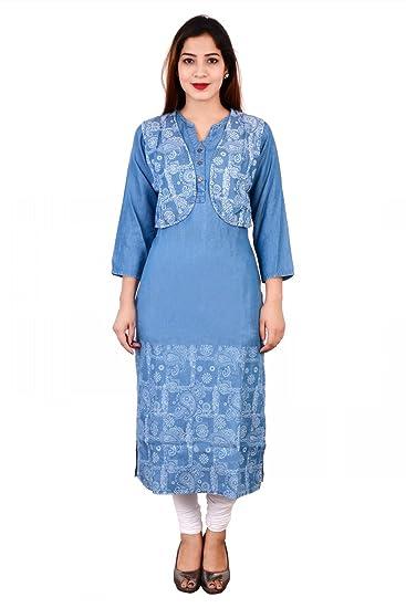 Pinky Pari Stylish Denim Printed Jacket Blue Printed Straight Kurti