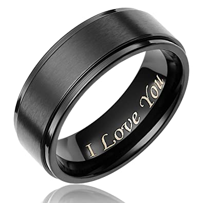 Titanium Wedding Band Engraved I Love You (4mm) vjnpV9frF