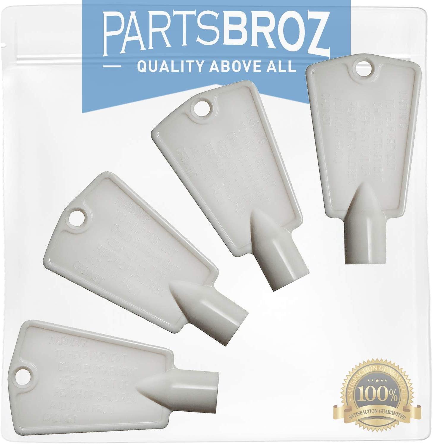 297147700 (4-Pack) Freezer Door Keys for Frigidaire Freezers by PartsBroz - Replaces AP4301346, 216702900, 06599905, 08037402, 1259502, 216388700, 5308027402, 5308037402, 6599905, PS1991481