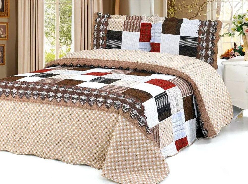 Auvoua 3 PCS Quilt Bedspread Blanket Cover Dusty Pink bedspread quilt set