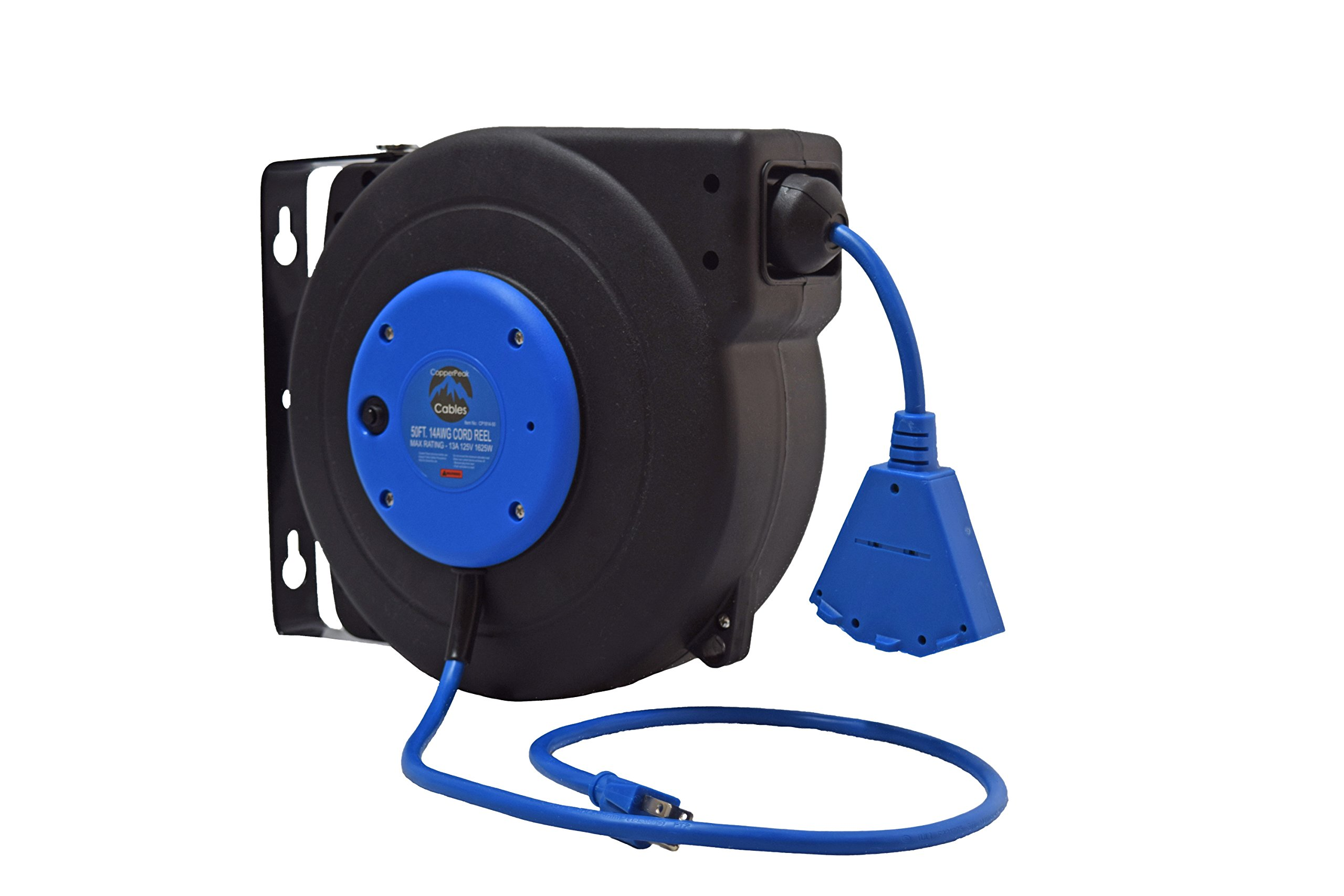 Retractable Extension Cord >> Details About Copperpeak 50 Ft Retractable Extension Cord Reel Ceiling Or Wall Mount 14