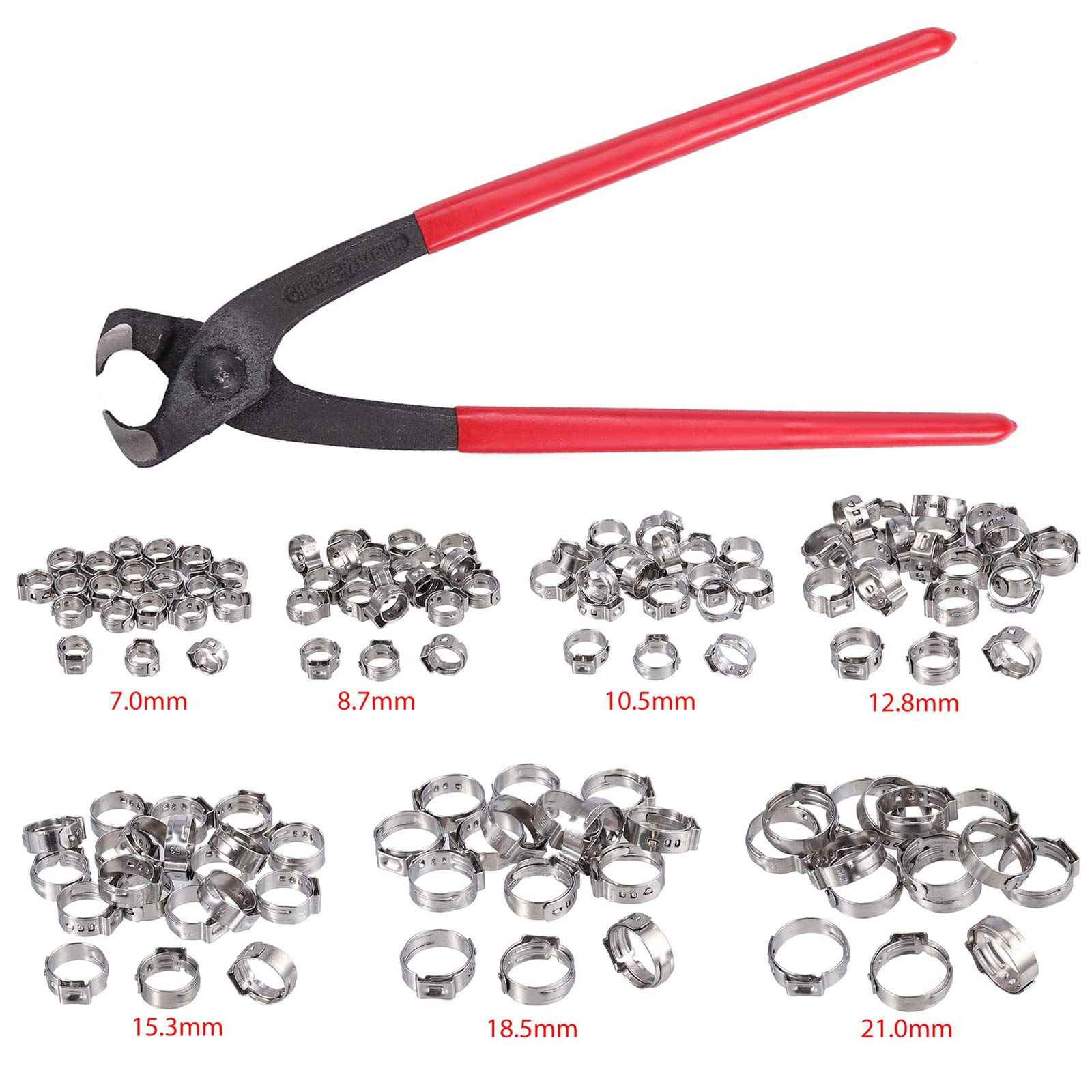 Proster Single Ear Stepless Hose Clamps 130PCS 6-21mm 304 Stainless Steel Cinch Clamp Rings Single Ear Hose Clamp Crimper Tool Kit by Proster