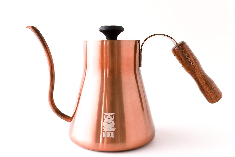 HIBOU Pour Over Kettle – Copper Coated – Integraded Thermometer for Exact Temperature – Gooseneck Spout for a Precision Pour 40floz 1.2L