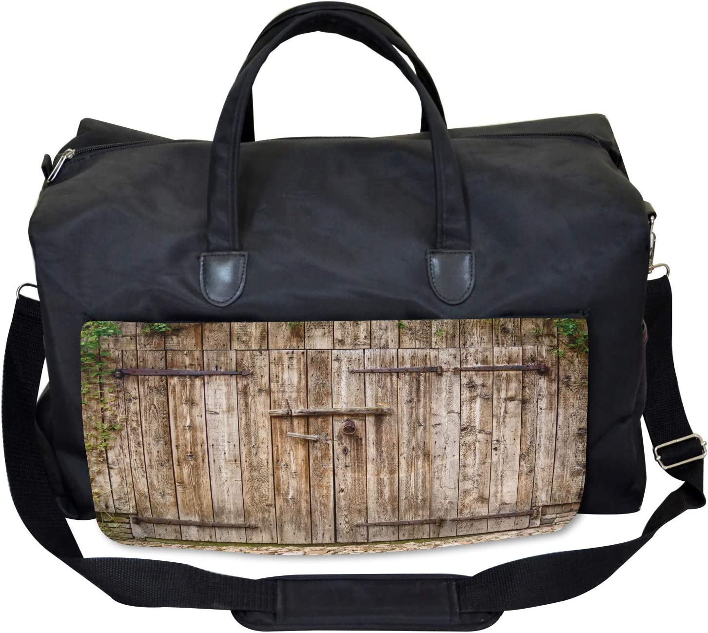 Large Weekender Carry-on Ambesonne Vintage Gym Bag Old Oak Steel Door