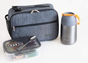 IVMET 3-Piece Lunch Bag Kit Insulated Bento Lunch Box Food Jar Vacuum Stainless Steel thermos with Spoon Leak Proof Hot Cold for Kids Adults School Office Picnic Travel Outdoors (Grey, 24 oz / 730 ml)
