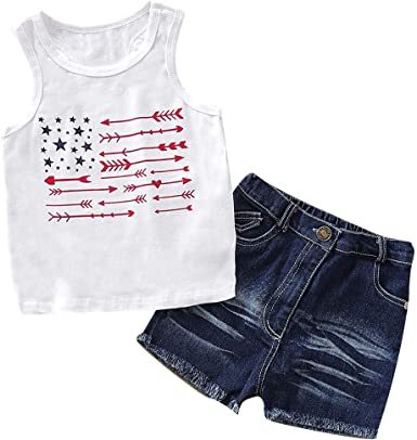 Kids Baby Girl Off Shoulder Floral Top Denim Shorts Pants Outfits Clothes Summer