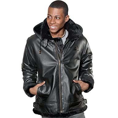 Wilda Men&39s Bomber Faux Fur Leather Jacket at Amazon Men&39s