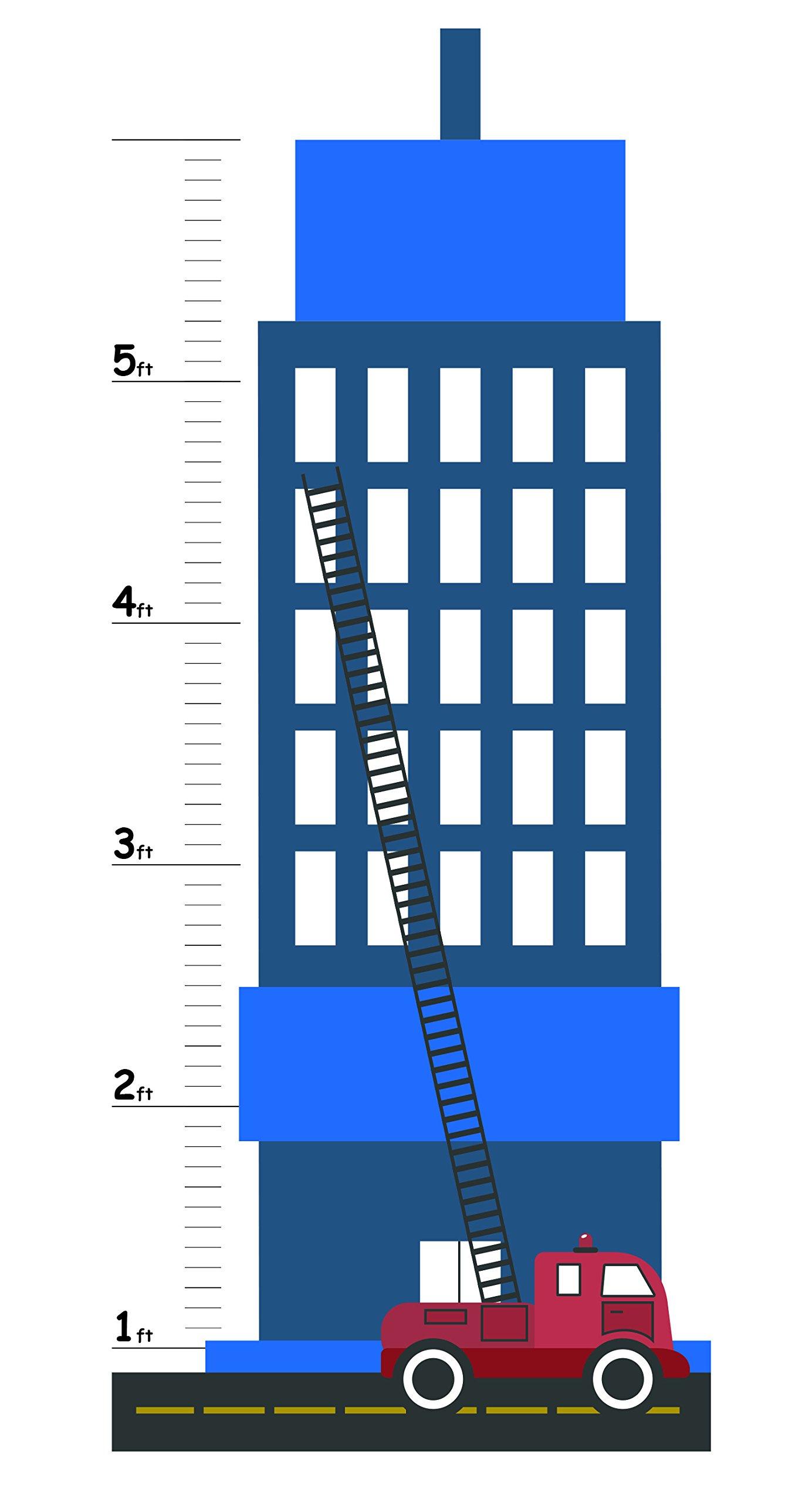 Growth Chart For Kids - Firetruck Growth Chart Decal - Height Chart For Kids Vinyl Decal - Firetruck Nursery Wall Decor - Height Measurement For Kids - Kids Height Wall Chart